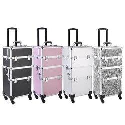3 en 1 caja de aluminio para maquillaje cosmético caja de tatuaje negro para mujeres de gran capacidad organizador de maquillaje profesional caja de almacenamiento multicapa