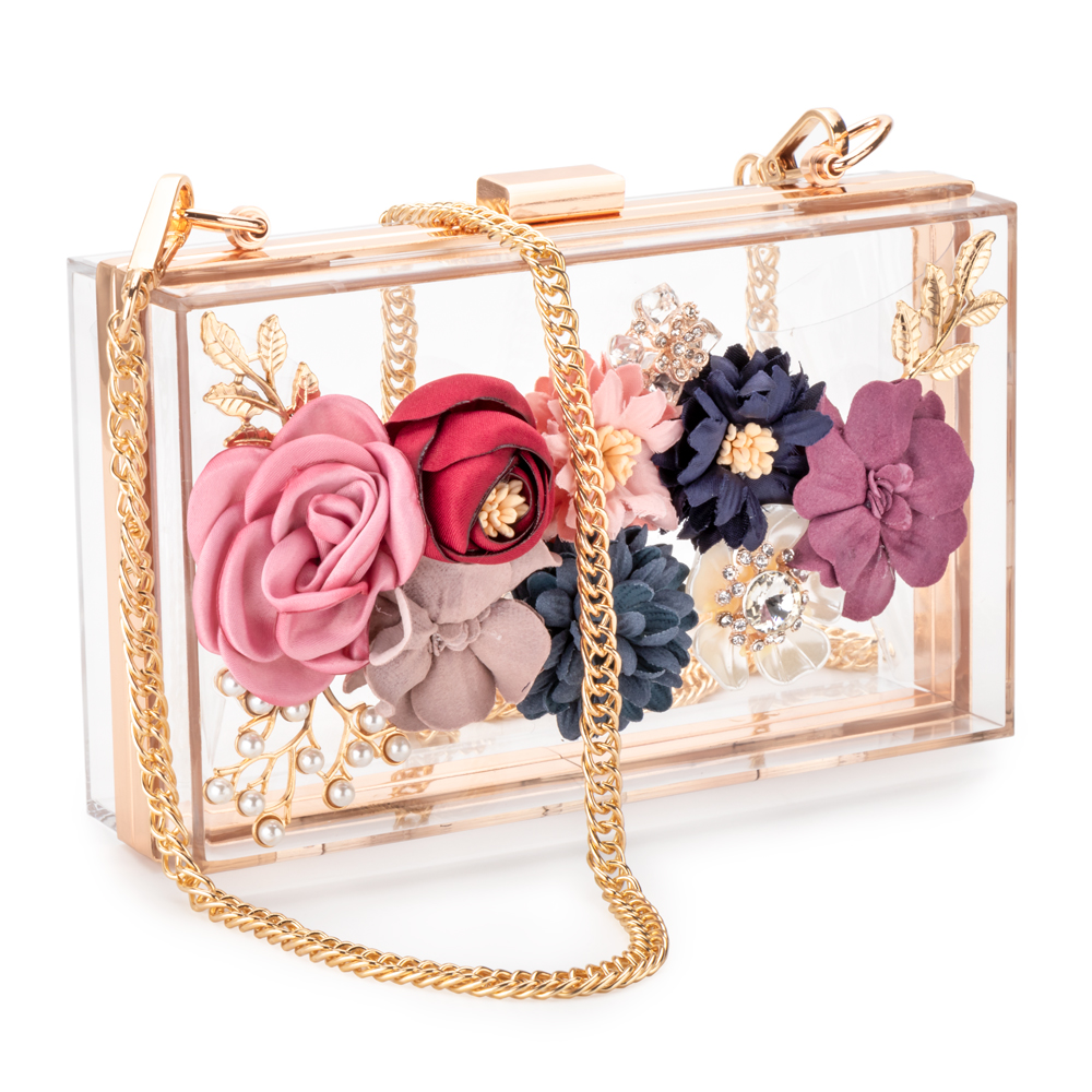 Crossbody Purse Chain-Strap Clutches Flower Evening-Bags Golden-Frame Wedding-Prom Acrylic