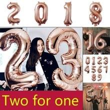 32 дюйма 2 шт Розовое золото номер фольги Воздушные шары 0-9 значный баллон гелия Свадьба Взрослый день рождения Юбилей, вечеринка, украшение Поставки