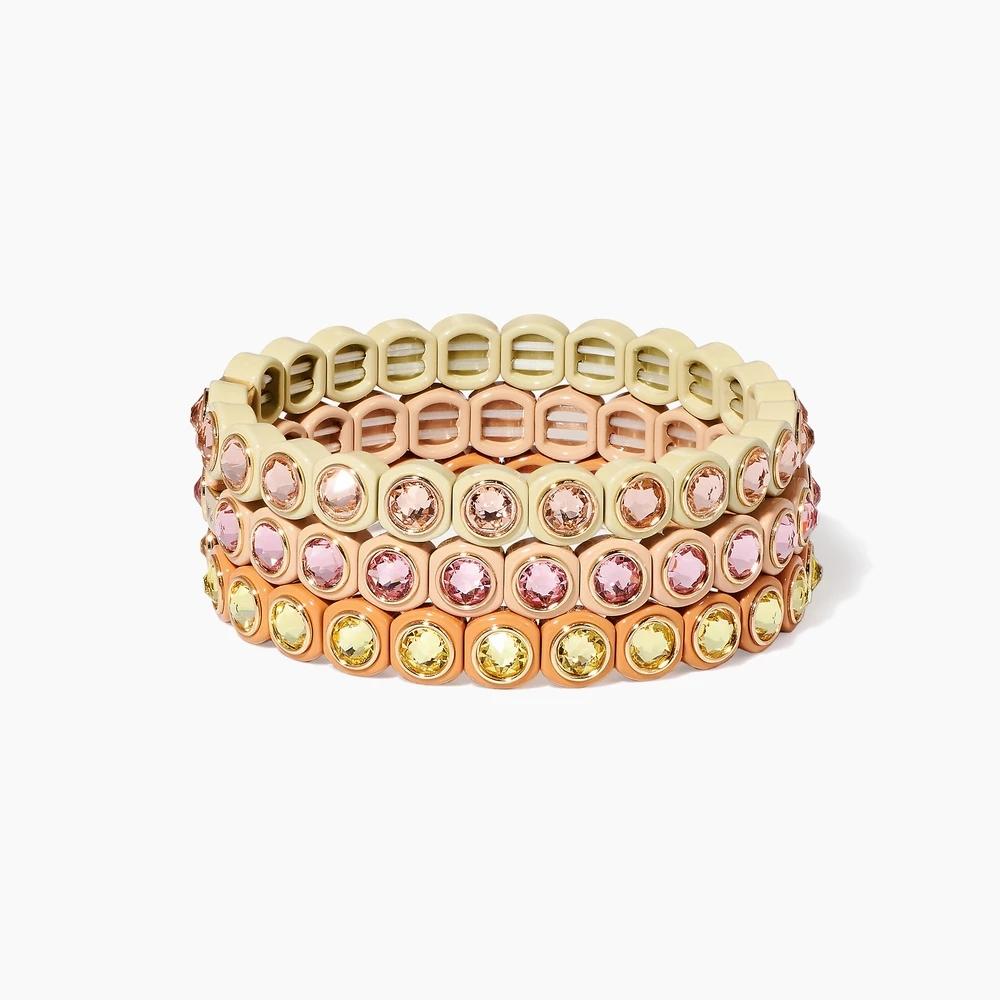 KELITCH Friendship Beaded Enamel Bracelets Handmade Charm Crystal Beads Strand Stretch Bracelets Cuff for Women Fashion Jewelry(China)