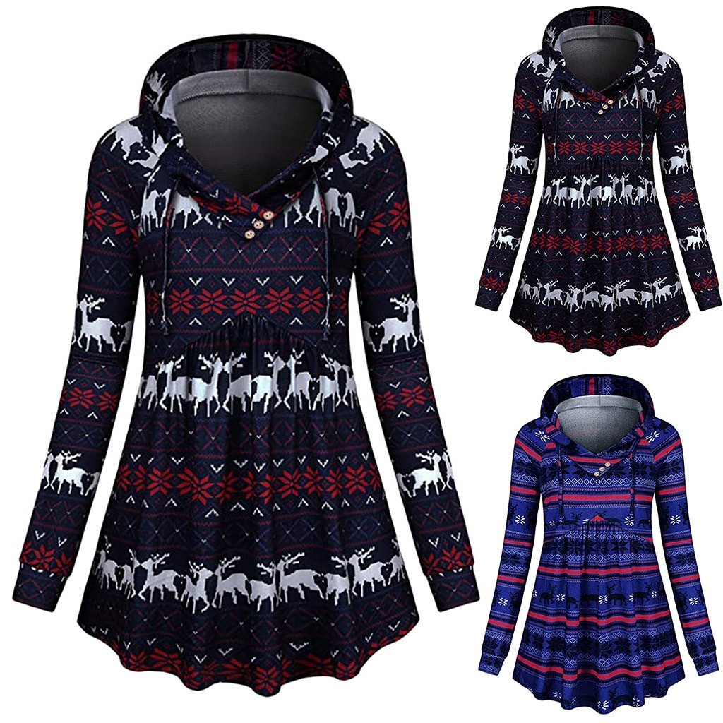 winter 2020 Women Long Sleeve V-Neck Elk Printed Hooded Sweatshirt Tunic Top Dropshipping Leisure work style colour Selling