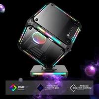 ATX Desktop PC Computer Gaming Fall Spezielle-Förmigen RGB Colrful Lichter Gehärtetem Glas Unterstützung Micro-ATX/Mini-ITX Motherboar