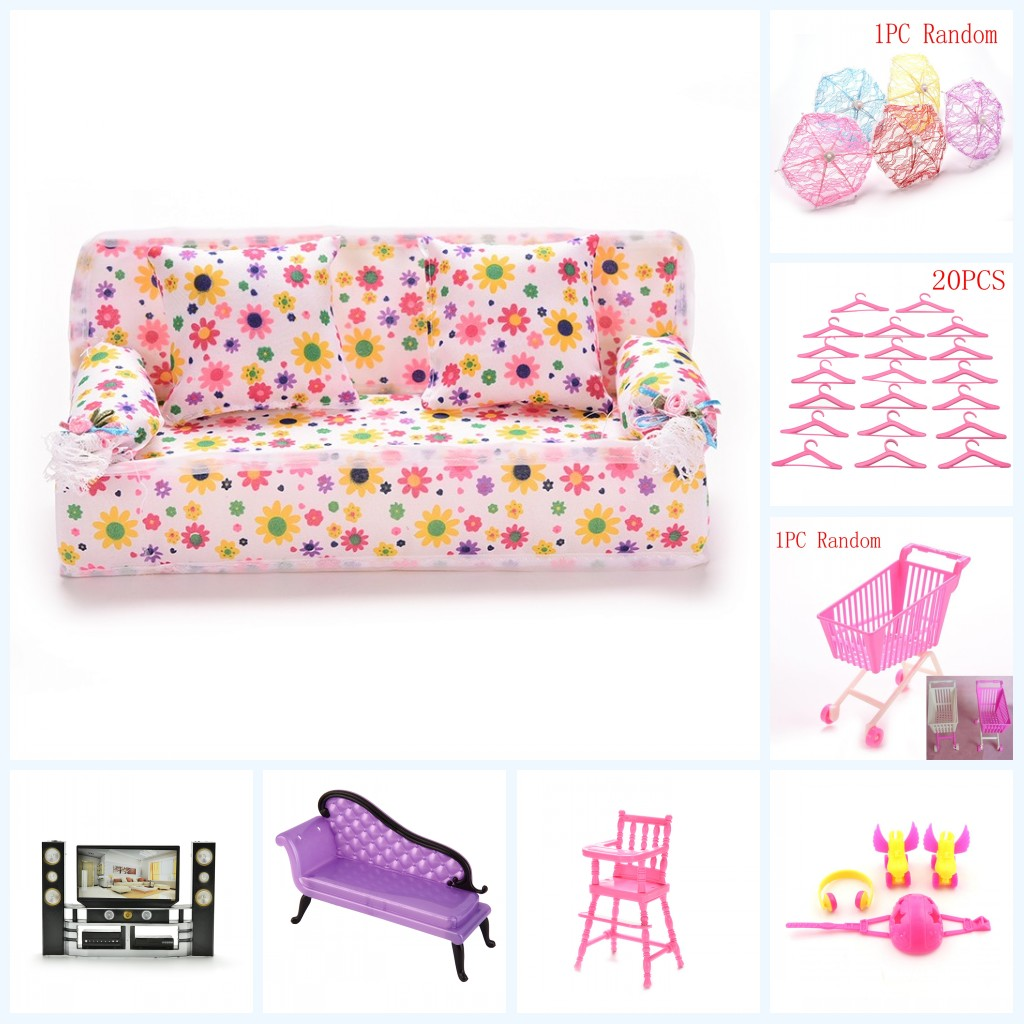 2019 New 1 Set Fashion Dollhouse Furniture For House Sofa TV Chair Umbrella For Doll Gift Pretend Toy For Girls