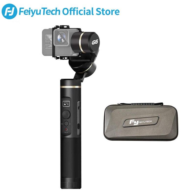 Feiyutech feiyu g6 3-axis câmera de ação cardan handheld estabilizador oled tela para gopro hero 7 6 5 sony rx0 yi cam 4 k