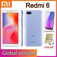 Xiaomi redmi 6 telefones celulares googleplay google market global framework face desbloquear 3350mah bateria helio p22 tela de 5.45 polegadas