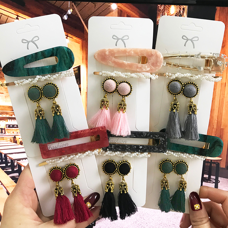 Fashion Earrings Set Pearl Hair Clips Barrettes And Tassel Earring For Women Acrylic Hairpins Sweet Girls Hair Accessories 2020