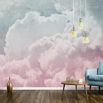 Photo Wallpaper Nordic Retro Gray Pink Cloud Mural Wall Paper Living Room Bedroom Abstract Art Wall Painting Papel De Parede 3 D beibehang papel de parede 3d photo wallpaper romantic painting pink rose flower romantic living room bedroom mural wall paper