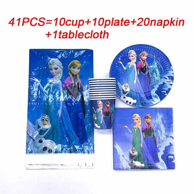 Disney Frozen Elsa Anna Happy Birthday Kids Meisje Wegwerp Servies Tafelkleed Plaat Cup Baby Shower Benodigdheden