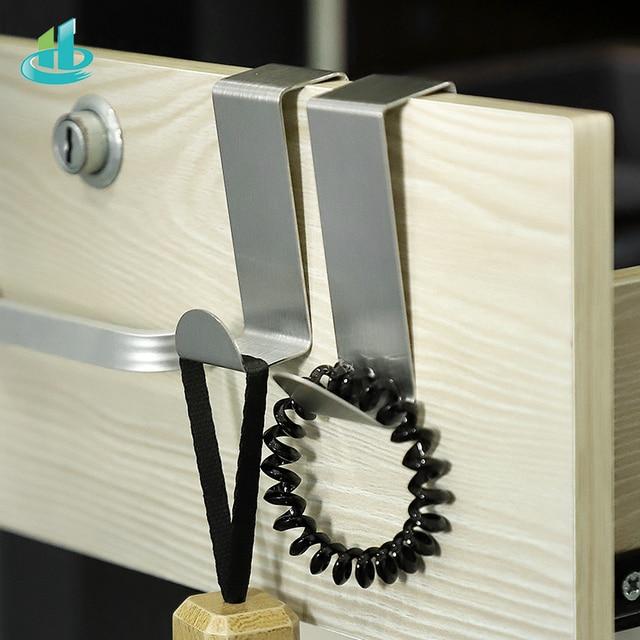 2PCS Multipurpose Stainless Steel Door Hook For Kitchen Bathroom Cabinet Clothes Towel  Home Storage Hanger Hooks Holder