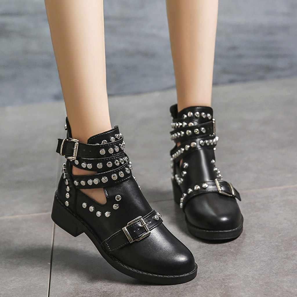 SAGACE çizme kadın moda Rivet kemer toka yarım çizmeler kadınlar için çizme öğrenci rahat ayakkabılar kadınlar 2019 büyük boy tek ayakkabı