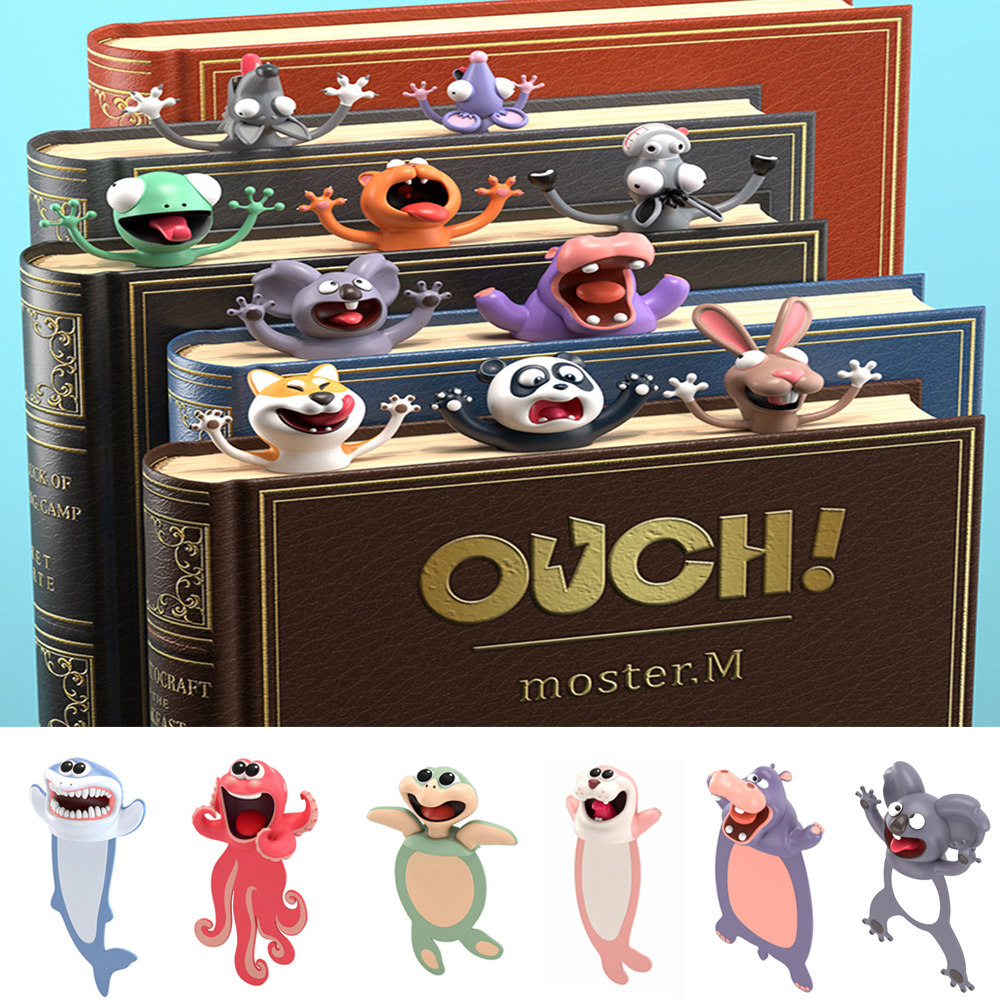 New 3D Cartoon Funny Bookmarks Cute Animal Style Book Markers Stationery PVC Cat Seal Octopus Ocean Series Gift School Supplies
