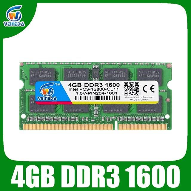 VEINEDA DDR3 8GB Оперативная память sodimm DDR 3 4 Гб 1600 1333 для Intel AMD ноутбук оперативной памяти 1