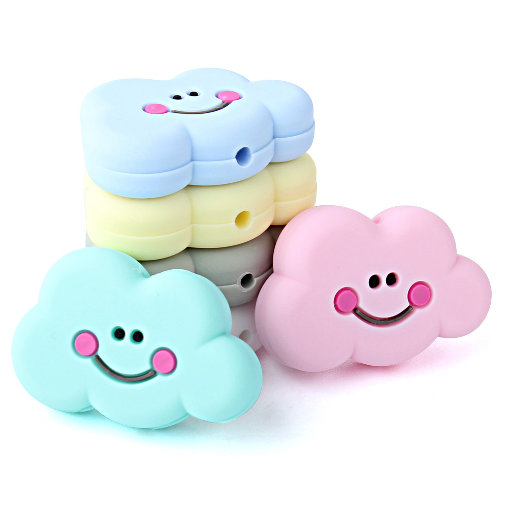 Keep&Grow 10pcs Perle Silicone Beads Clouds Silicone Teething Beads Rodents Silicone Baby Teethers DIY Teething Necklace Pendant