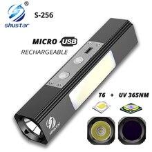 Potente linterna LED T6, + UV 365NM luz blanca, linterna ultravioleta multifunción utilizada por la noche, detección de agente fluorescente, etc.