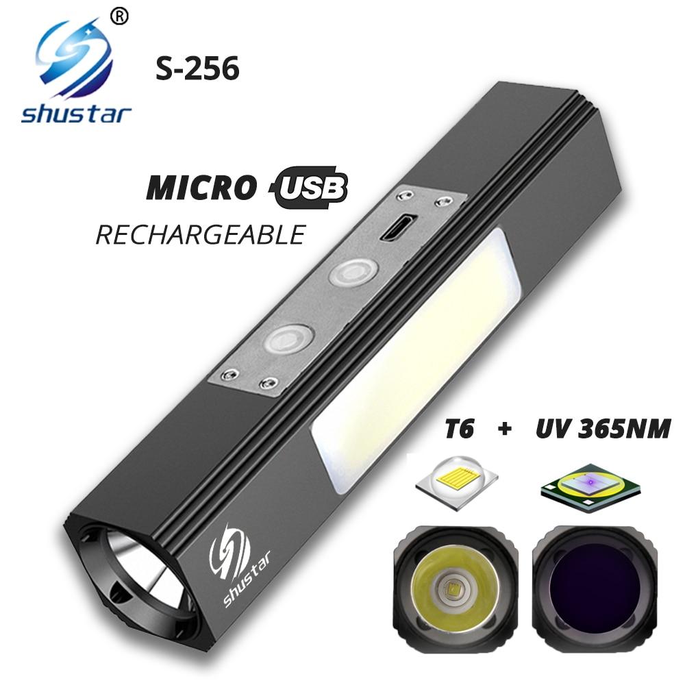 Puissant lampe de poche LED T6 lumière blanche + UV 365NM Ultraviolet multifonction torche utilisée la nuit, détection dagent fluorescent, etc.