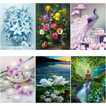 DIY 5D Diamond Painting Flower Diamond Embroidery Landscape Cross Stitch Full Round Drill Rhinestone Manual Art Wall Home Decor diapai 100% full square round drill 5d diy diamond painting flower landscape diamond embroidery cross stitch 3d decor a21095