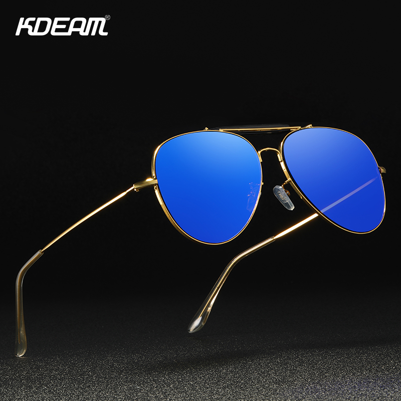KDEAM Flat Pilot Women Sunglasses Vintage Mirror Blue UV400 Sun Glasses Female Crystal Nose Pad And Cover