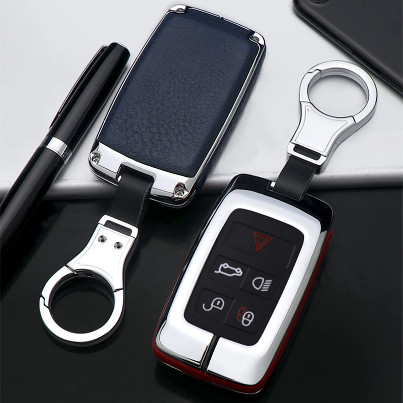Leather Car Key Cover Shell Case Holder Ring For 2018 Land <font><b>Rover</b></font> <font><b>Range</b></font> <font><b>Rover</b></font> Sport <font><b>Evoque</b></font> Velar Discovery 5 <font><b>keychain</b></font> Key Protect image