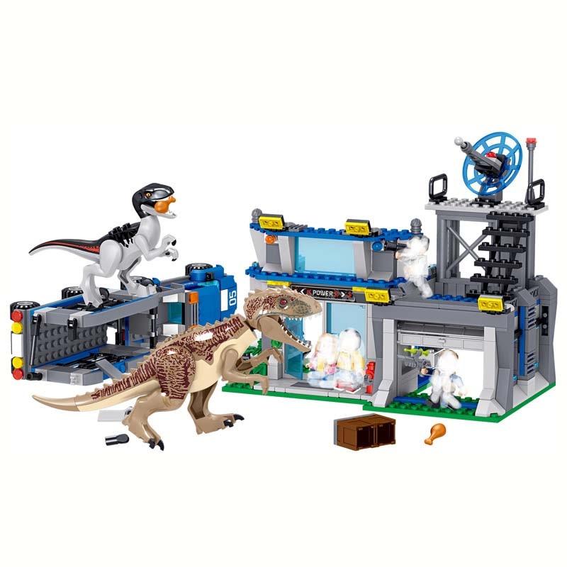 559pcs Jurassic Dinosaur Tyrannosaurus Rex Police Set Building Block Toy Figure World Dino Brick Compatible B708