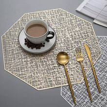 6/4 sztuk podkładki z pcv wycinanka do zawieszania mata ośmioboczna Hollow antypoślizgowe maty stołowe Coaster dekoracje na stół złoty podkładka
