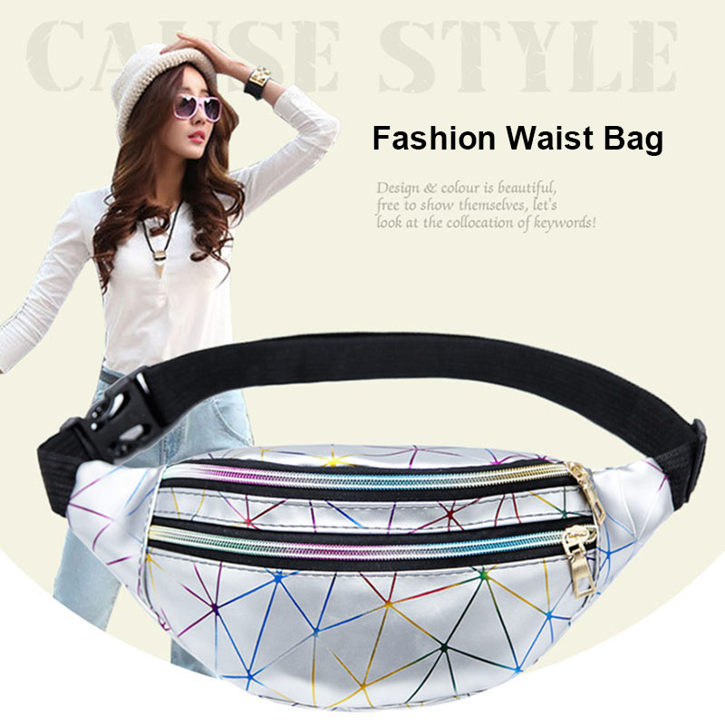 Holographic Women Waist Packs Pink Silver Fanny Pack Female Belt Bag Black Geometric Laser Chest Phone Pouch Fashion Waist Bags