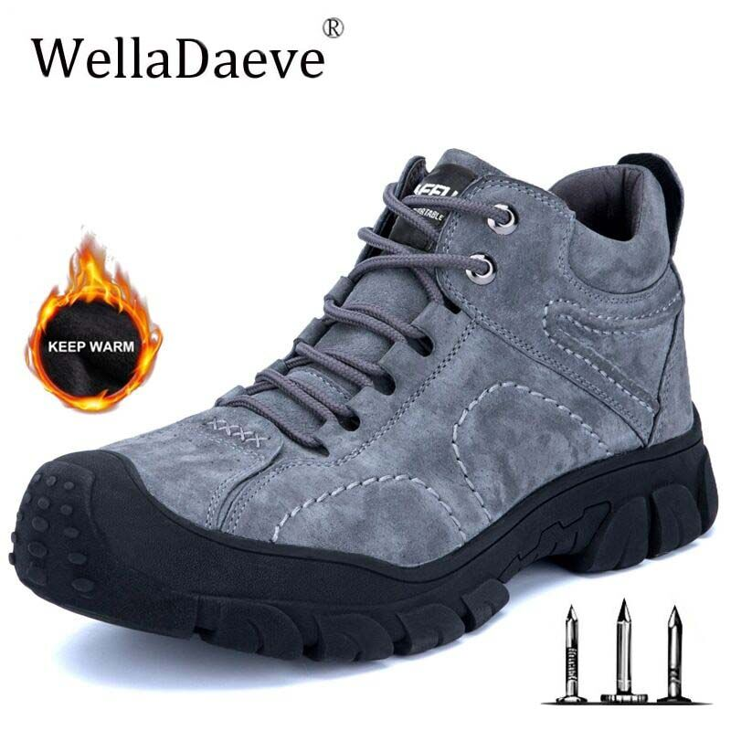 Men Winter Warm Velvet Steel Toe Safety Shoes Ultra-light Soft Bottom Sneaker Puncture Proof Waterproof Construction Work Boots image