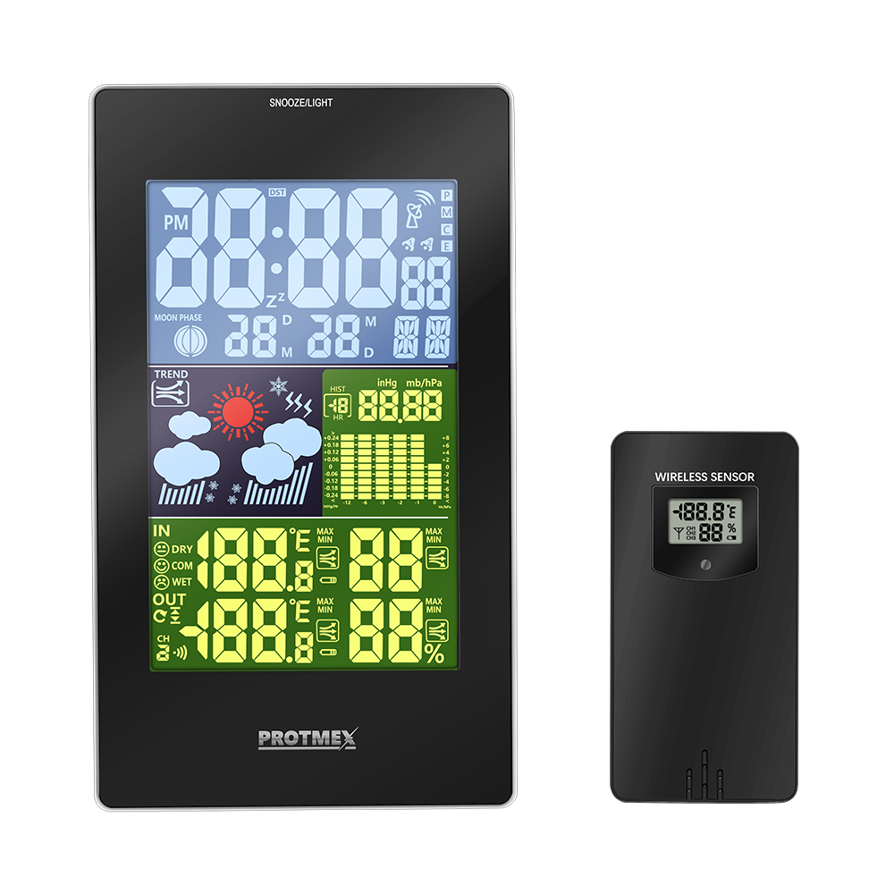 Indoor and Outdoo Colorful LCD Display Weather Station With Weather Forecast Radio control Time