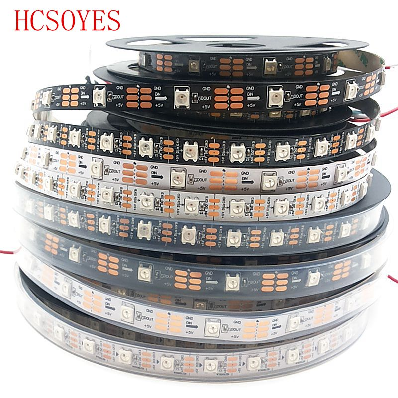 DC 5V 1m/5m Roll WS2812B RGB Led Strip 30/60/144leds/m Ws2811ic Built-in Individually Addressable Smart Strip