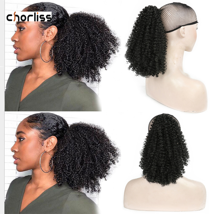 Short Synthetic Ponytail Kinky Curly Drawstring Hairpiece Donut Synthetic Hair Bun Afro Puff Chignon Hairpieces For Women