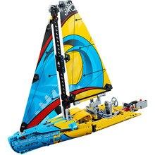 369 pçs lona barcos de corrida iate conjunto blocos construção navio cruzeiro tijolos brinquedos educativos para crianças