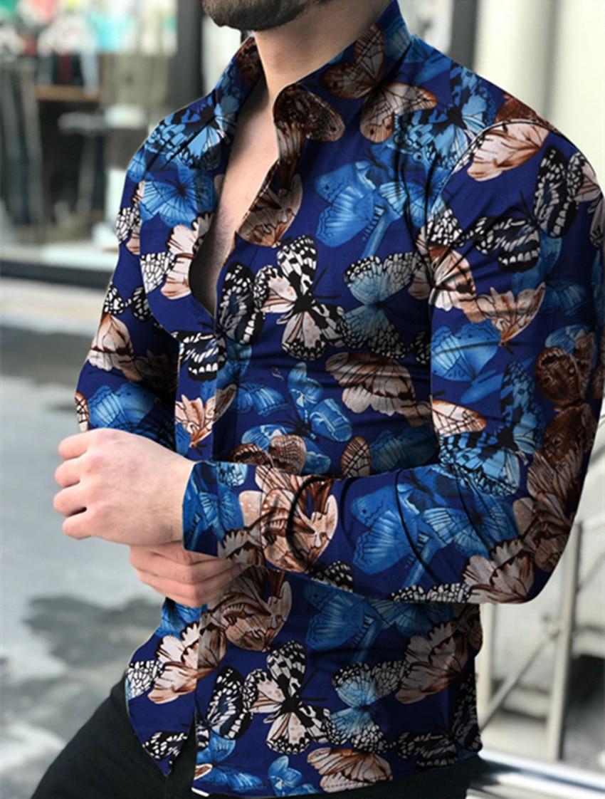 Butterfly Print Shirt Men Slim Fit Shirt Long Sleeve Shirt Male Top 2020 Europe Size Cotton Men's Shirt Streetwear Male Shirt