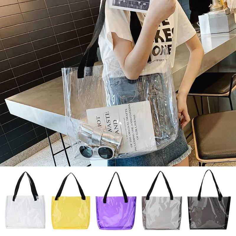 Clear PVC Transparent Swimming Beach Bag Storage Bag Shopping Bag Shoulder Handbag Outdoor Camping Tote Travel Bags
