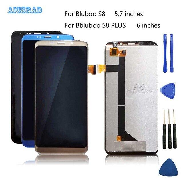 Tela lcd aicsrad para bluboo s8/s8 plus, display de toque e montagem de tela para s 8 lite s8plus, reparo perfeito qualidade original