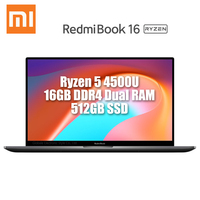 Original Xiaomi Redmibook 16 Laptop 16.1 Inch Ryzen 4500U DDR4 Dual RAM 512GB SSD Windows 10 MIMO WiFi USB Type C HDMI Computer