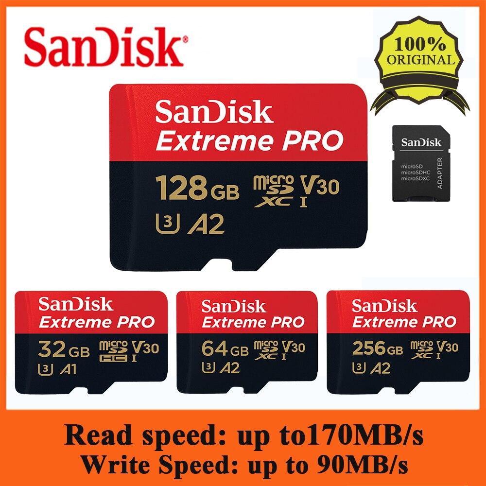 Sandisk extreme pro 128 gb 64 gb 32 gb microsdhc sdxc UHS-I cartão de memória cartão micro sd tf cartão até 170 mb/s class10 com adaptador sd