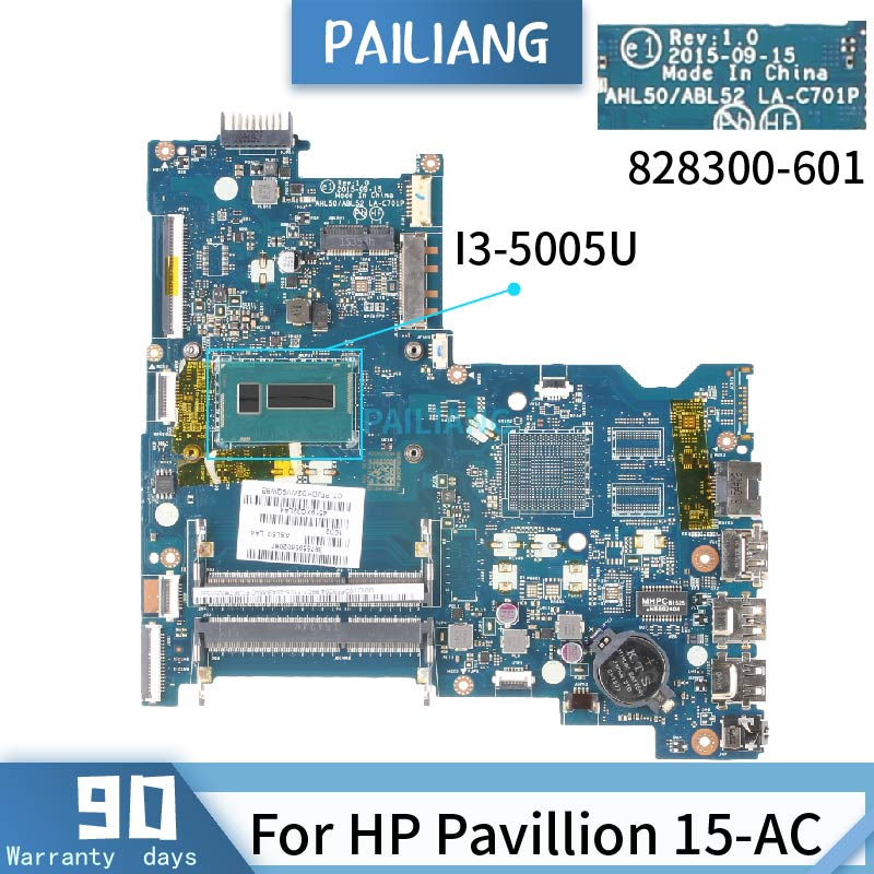 PAILIANG Laptop motherboard For HP Pavillion 15-AC Mainboard LA-C701P 828178-601 828300-601 Core <font><b>SR27G</b></font> I3-5005U image
