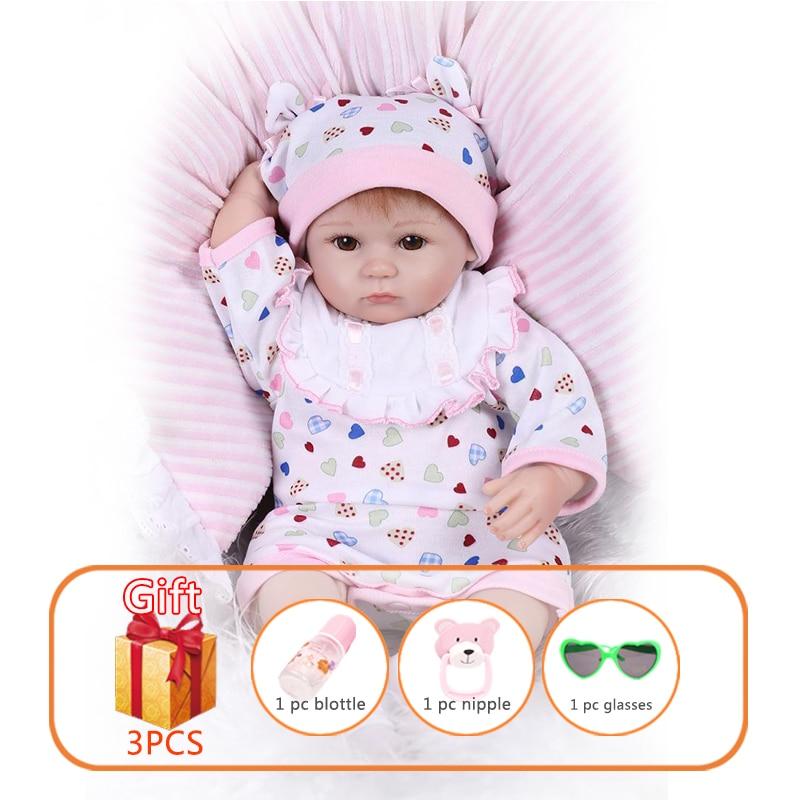 NPK 42cm Reborn Baby Dolls Soft Silicone Newborn Toy Doll Silicone Cotton Handmade Toy Simulation Soft