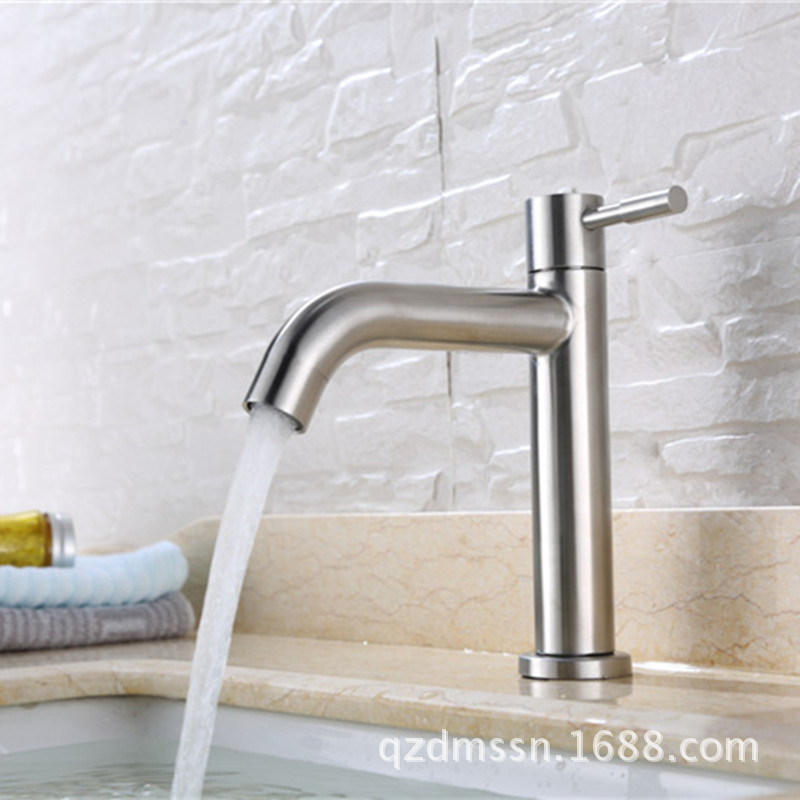 Manufacturers Wholesale 304 Basin Faucet Top Grade Single Cold Faucet Stainless Steel Single Cold Basin Brushed Faucet