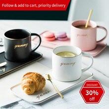 Nordic Ins Coffee Mug Gold Spoon Saucer Luxury Water Cafe Tea Milk Ceramic Heat-Resistant Cup Dish Saucer Set Suit Dessert Plate