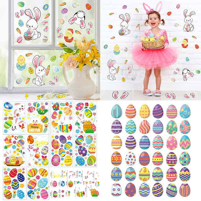 2021 Easter Window Stickers Bunny Egg Carrot Stickers Decal Happy Easter Decor for Home Xmas New Year Party Self Adhesive Tattoo