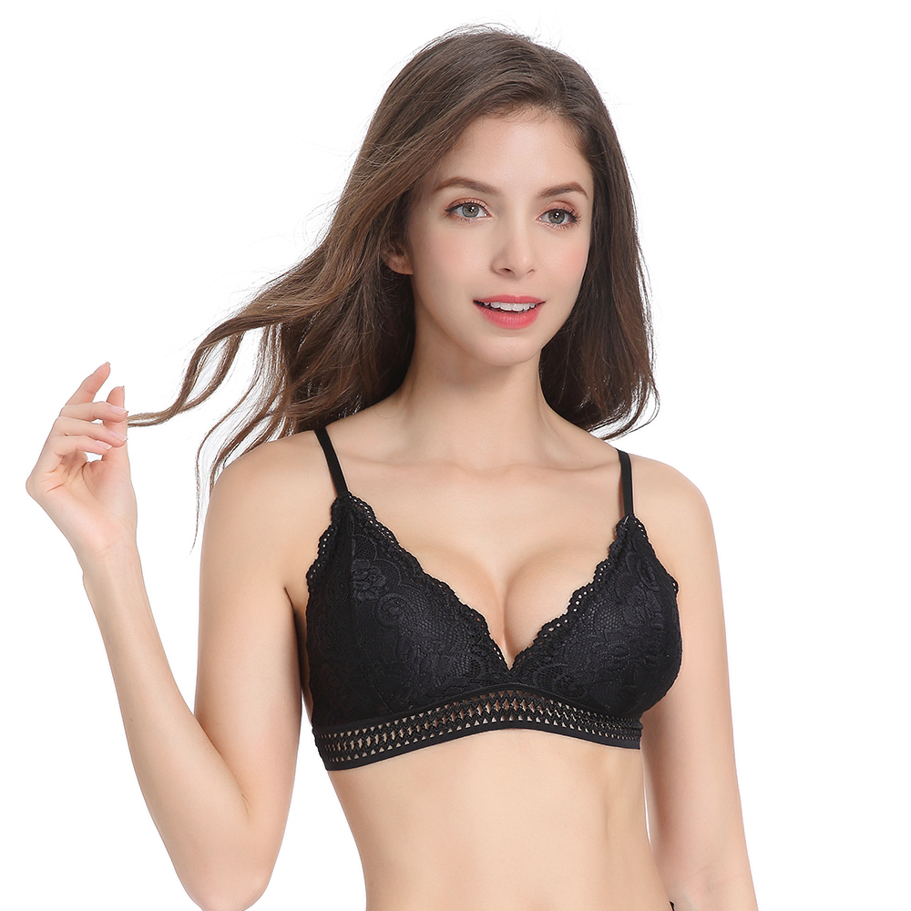 1/2PCS French Style Bralette Seamless Deep V Lace Bra Wireless Thin Underwear Sexy Lingerie Soft Push Up Bras For Women Hot