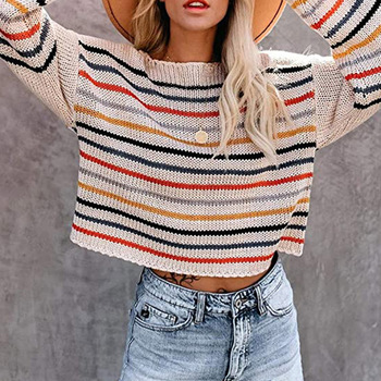 Autumn 2020 Thin Knitted Sweater Women Colorful Stripes Cold Shoulder Short Sweaters Pullover Female Casual Loose Sweater Tops light blue cold shoulder thin strap top