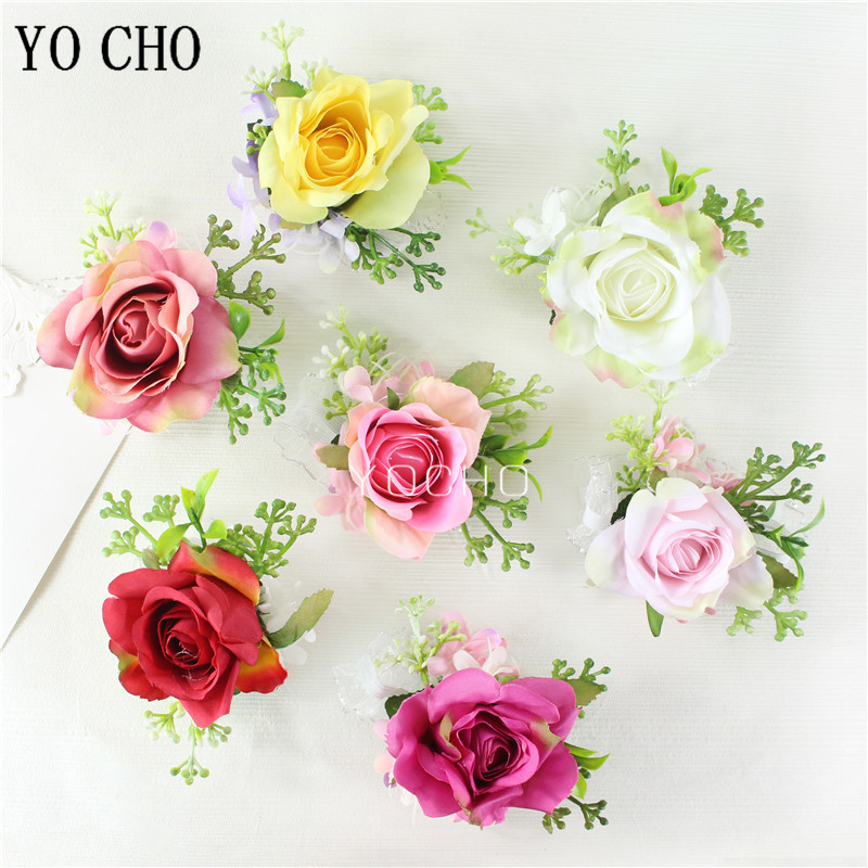 YO CHO Wrist Corsage Silk Rose Wedding Corsages And Boutonnieres Groom Buttonhole Sister Wristband Wedding Girl Bracelet Flower