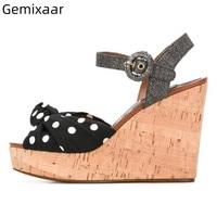 Sweet Polka Dot Sandals Women Peep Toe Decor Bow knot High Wedges Walking Shoes Summer New Coming Narrow Buckle Woman Sandals
