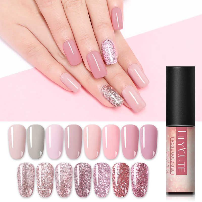 Lilycute 5 Ml Telanjang Glitter Gel Cat Kuku Hologram Rose Emas Payet Nail Gel Rendam Off Paku Seni Sinar UV Gel bahasa Polandia