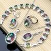 Mystic Rainbow Fire Zirconia Sieraden Sets Vrouwen 925 Zilveren Sieraden Oorbellen/Hanger/Ketting/Ringen/Armband