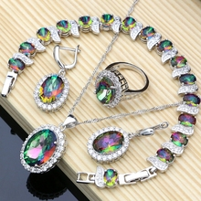 Mystic rainbow fire conjuntos de jóias de zircônia cúbica feminino 925 brincos de jóias de prata/pingente/colar/anéis/pulseira