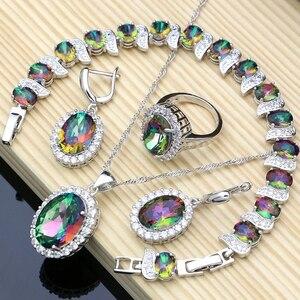 Image 1 - Mystic tęczowy ogień cyrkonia biżuteria ustawia kobiety biżuteria ze srebra próby 925 kolczyki/wisiorek/naszyjnik/pierścionki/bransoletka