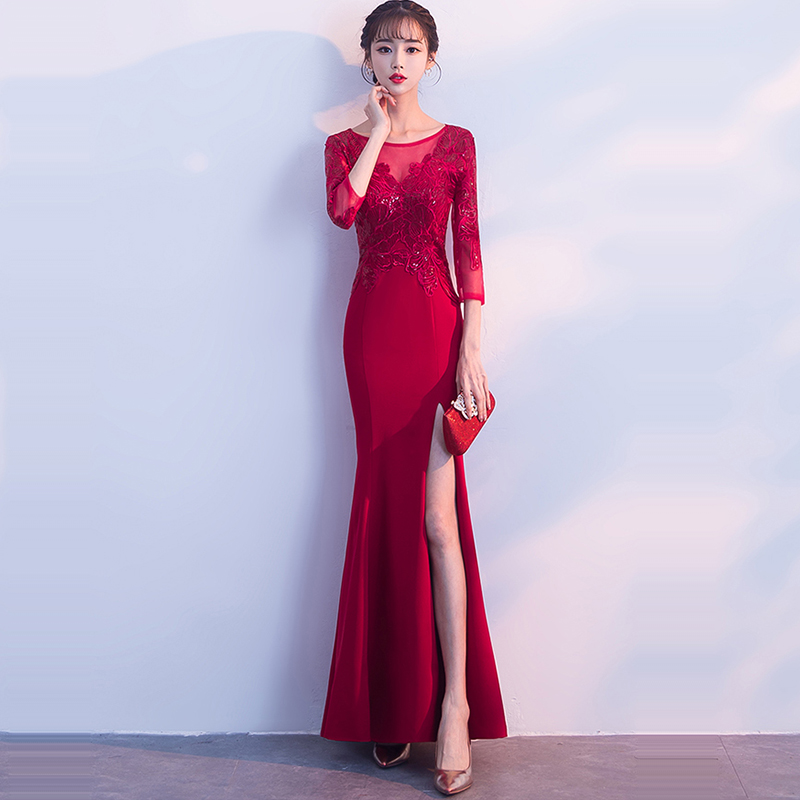 Evening Dress Soild O-neck Women Party Dresses 2019 Embroidery Robe De Soiree Three Quarter Sleeve Formal Evening Gowns F194