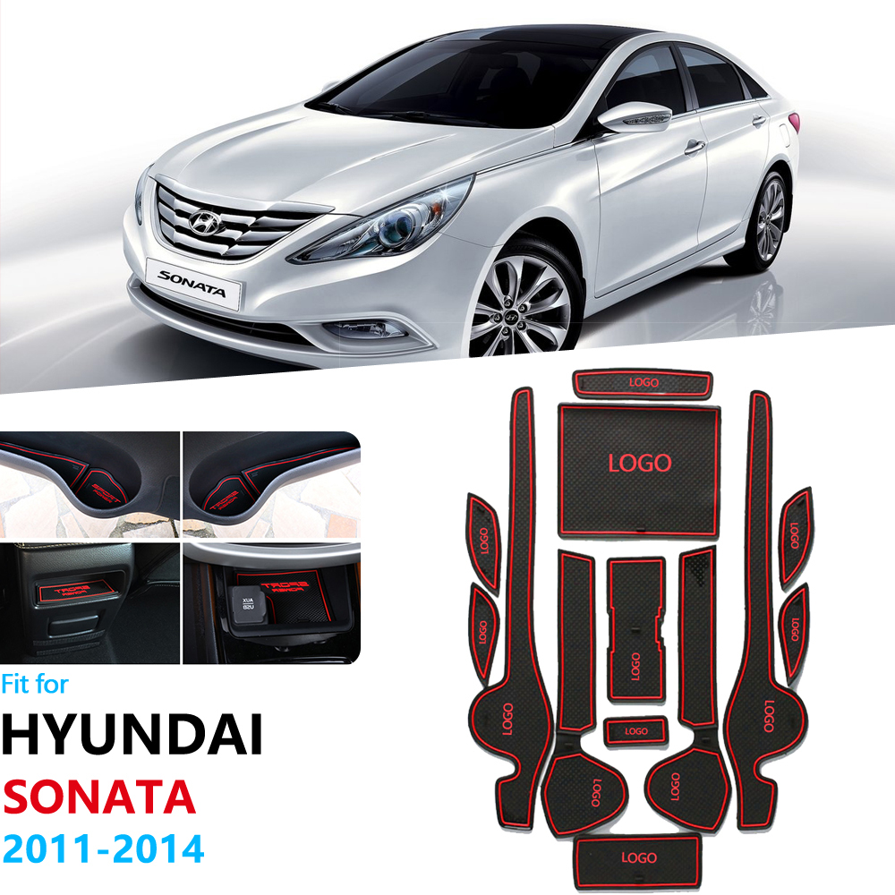 Anti-Slip Rubber Gate Slot Cup Mat For Hyundai Sonata YF I45 2011 2012 2013 2014 Door Groove Mat Coaster Accessories Car Sticker